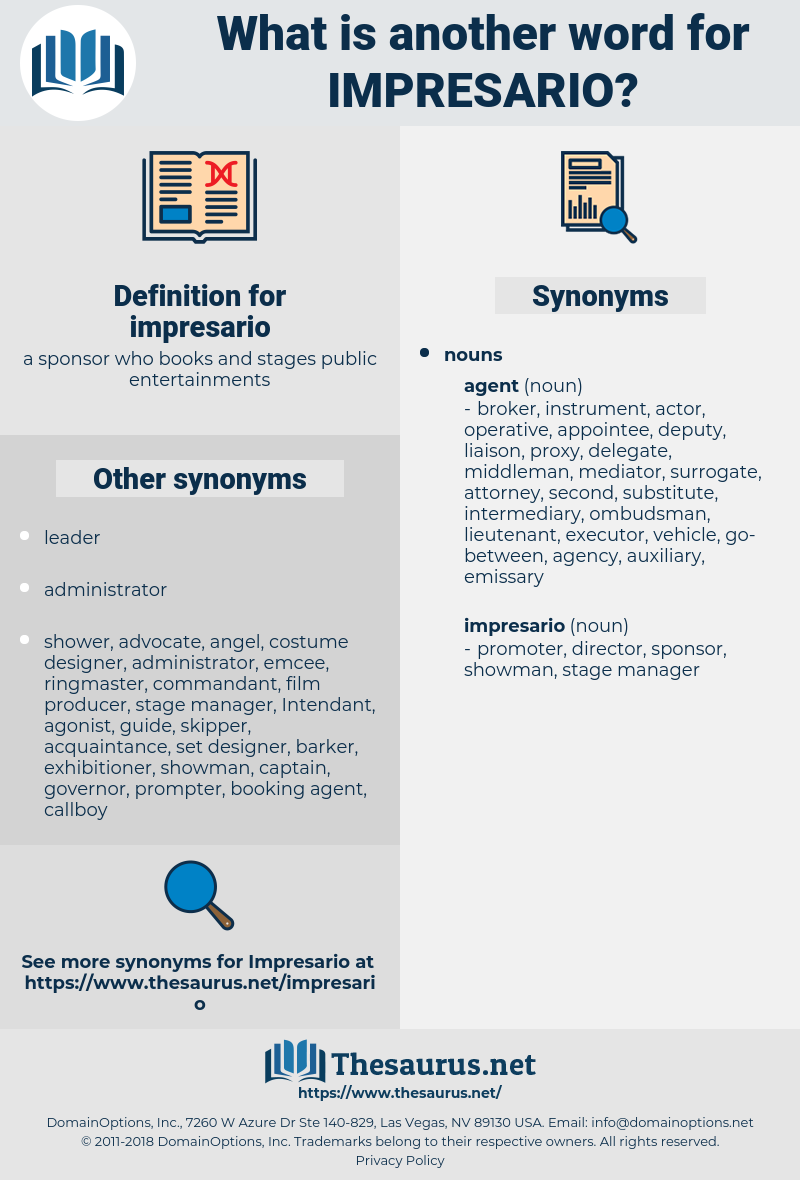 impresario, synonym impresario, another word for impresario, words like impresario, thesaurus impresario