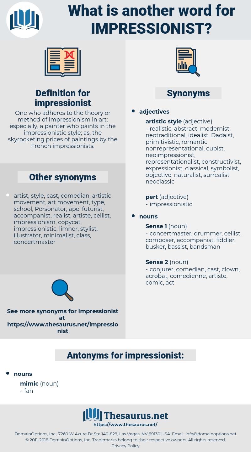 impressionist, synonym impressionist, another word for impressionist, words like impressionist, thesaurus impressionist
