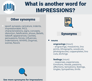 impressions, synonym impressions, another word for impressions, words like impressions, thesaurus impressions