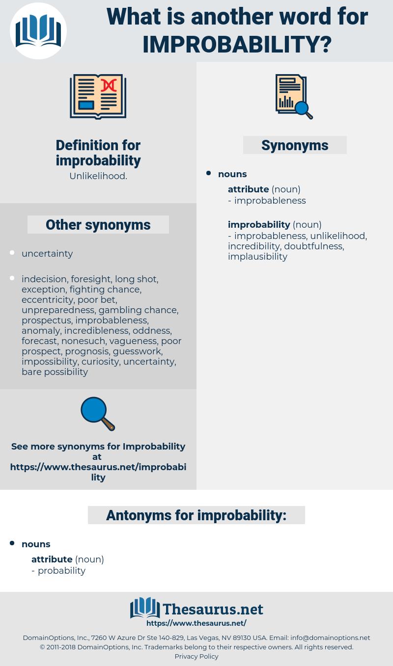 improbability, synonym improbability, another word for improbability, words like improbability, thesaurus improbability