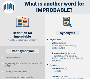 improbable, synonym improbable, another word for improbable, words like improbable, thesaurus improbable