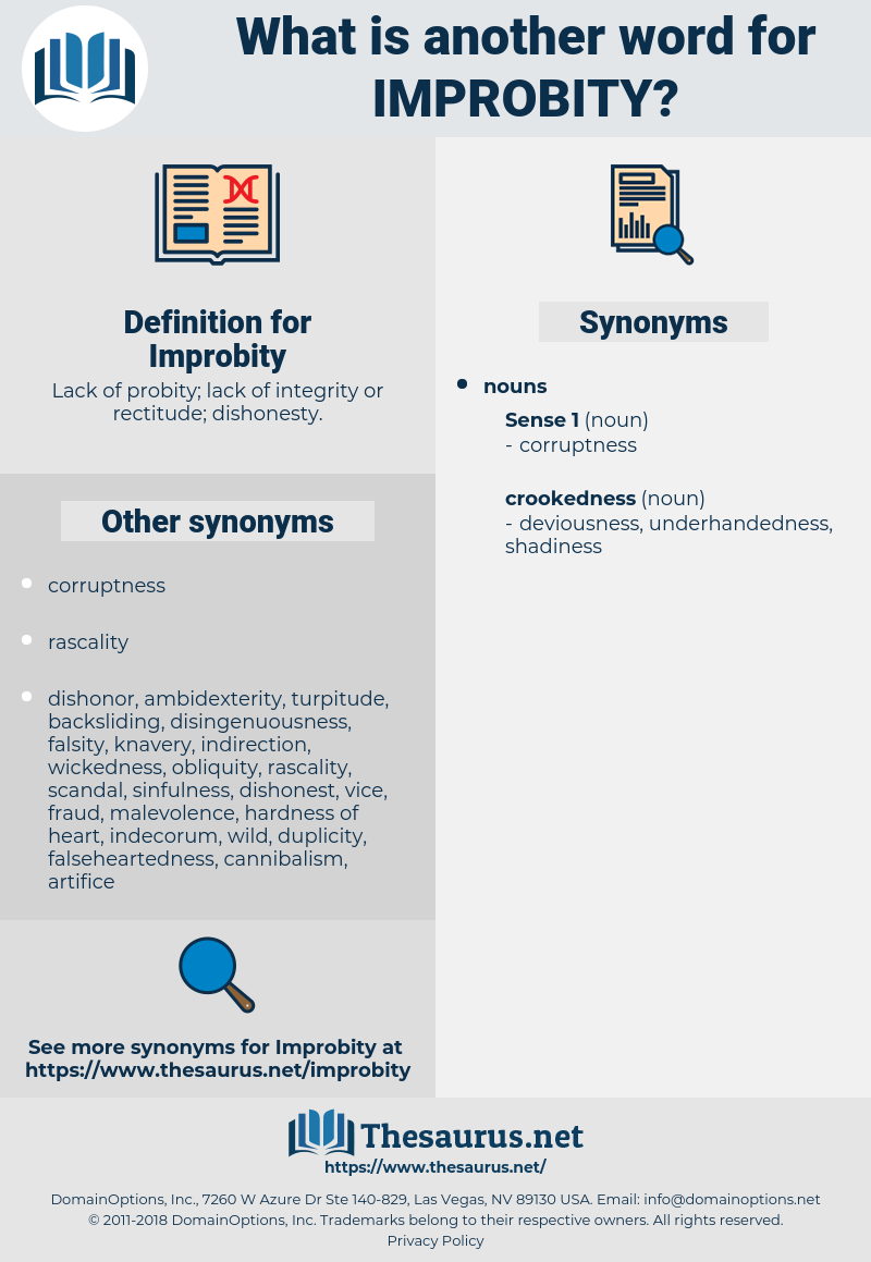 Improbity, synonym Improbity, another word for Improbity, words like Improbity, thesaurus Improbity