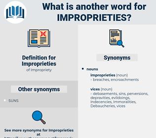 Improprieties, synonym Improprieties, another word for Improprieties, words like Improprieties, thesaurus Improprieties
