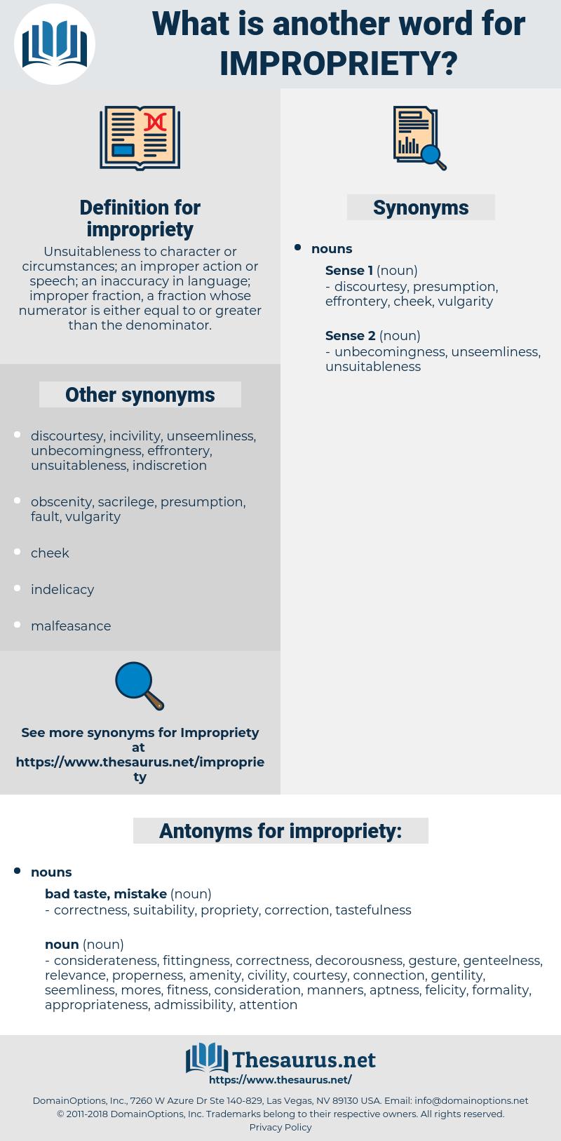 impropriety, synonym impropriety, another word for impropriety, words like impropriety, thesaurus impropriety