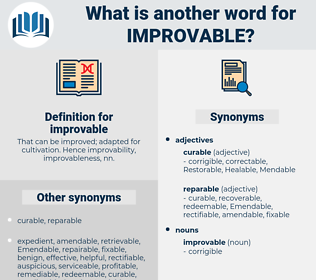 improvable, synonym improvable, another word for improvable, words like improvable, thesaurus improvable