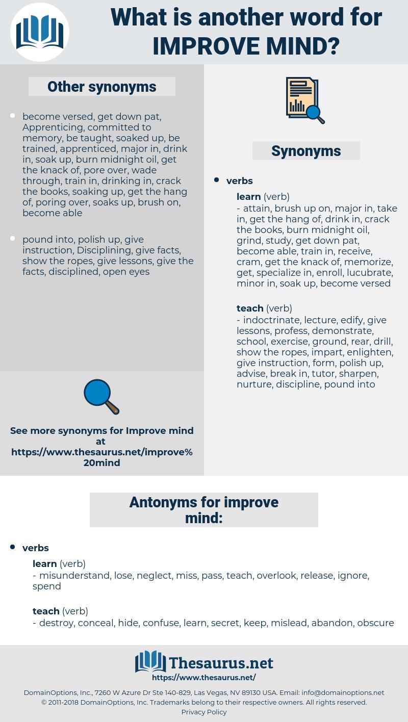 improve mind, synonym improve mind, another word for improve mind, words like improve mind, thesaurus improve mind