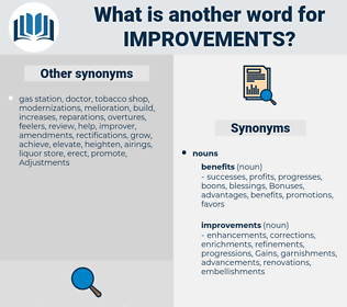 improvements, synonym improvements, another word for improvements, words like improvements, thesaurus improvements