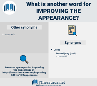 improving the appearance, synonym improving the appearance, another word for improving the appearance, words like improving the appearance, thesaurus improving the appearance