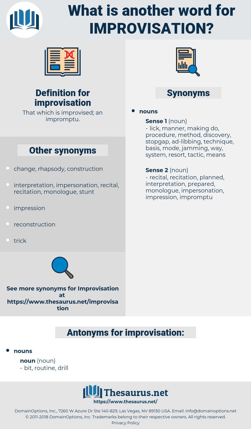 improvisation, synonym improvisation, another word for improvisation, words like improvisation, thesaurus improvisation
