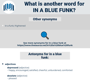 in a blue funk, synonym in a blue funk, another word for in a blue funk, words like in a blue funk, thesaurus in a blue funk