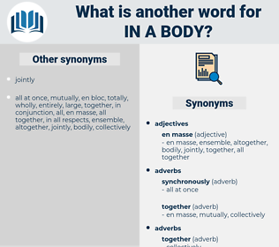 in a body, synonym in a body, another word for in a body, words like in a body, thesaurus in a body