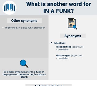 in a funk, synonym in a funk, another word for in a funk, words like in a funk, thesaurus in a funk