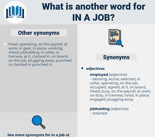 in a job, synonym in a job, another word for in a job, words like in a job, thesaurus in a job