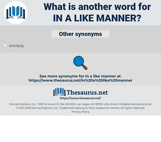in a like manner, synonym in a like manner, another word for in a like manner, words like in a like manner, thesaurus in a like manner