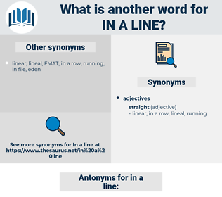 in a line, synonym in a line, another word for in a line, words like in a line, thesaurus in a line