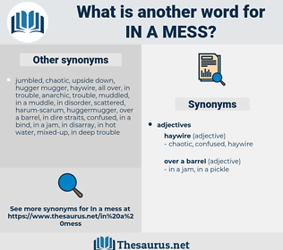 in a mess, synonym in a mess, another word for in a mess, words like in a mess, thesaurus in a mess