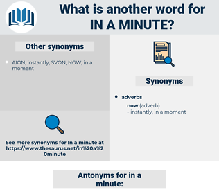 in a minute, synonym in a minute, another word for in a minute, words like in a minute, thesaurus in a minute