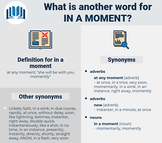 in a moment, synonym in a moment, another word for in a moment, words like in a moment, thesaurus in a moment