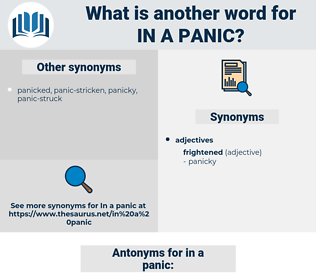 in a panic, synonym in a panic, another word for in a panic, words like in a panic, thesaurus in a panic