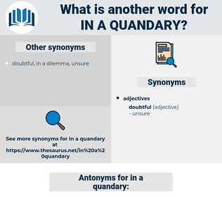 in a quandary, synonym in a quandary, another word for in a quandary, words like in a quandary, thesaurus in a quandary
