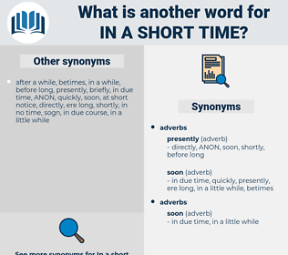 in a short time, synonym in a short time, another word for in a short time, words like in a short time, thesaurus in a short time