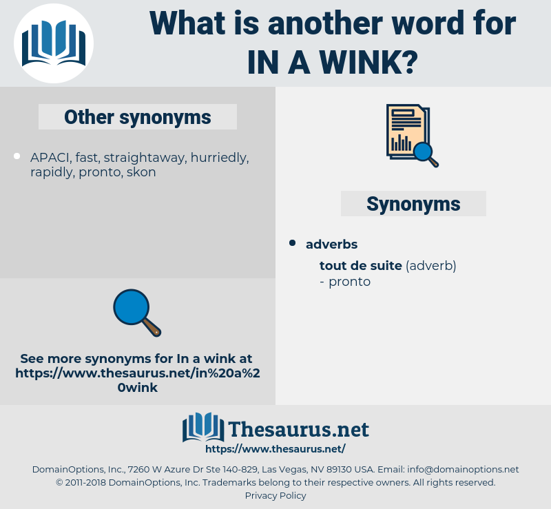 in a wink, synonym in a wink, another word for in a wink, words like in a wink, thesaurus in a wink