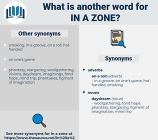 in a zone, synonym in a zone, another word for in a zone, words like in a zone, thesaurus in a zone