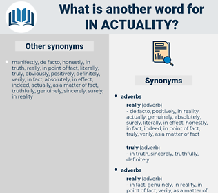 in actuality, synonym in actuality, another word for in actuality, words like in actuality, thesaurus in actuality