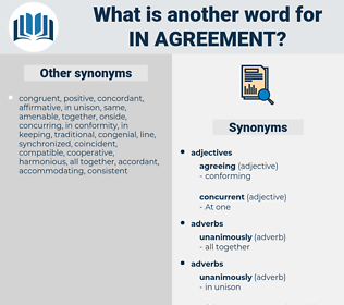 in agreement, synonym in agreement, another word for in agreement, words like in agreement, thesaurus in agreement