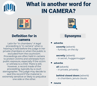 in camera, synonym in camera, another word for in camera, words like in camera, thesaurus in camera