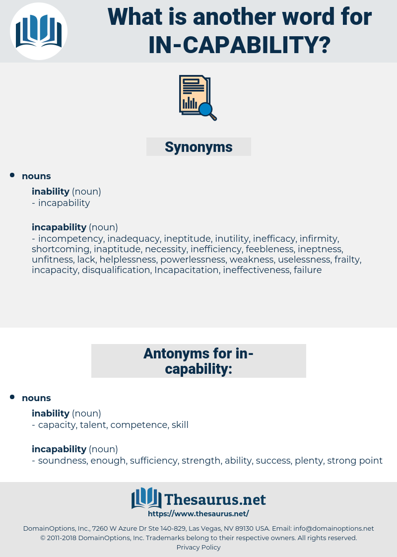 in capability, synonym in capability, another word for in capability, words like in capability, thesaurus in capability
