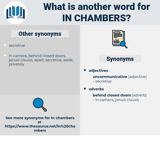in chambers, synonym in chambers, another word for in chambers, words like in chambers, thesaurus in chambers
