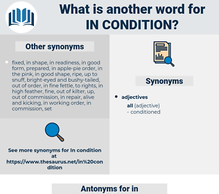 in condition, synonym in condition, another word for in condition, words like in condition, thesaurus in condition