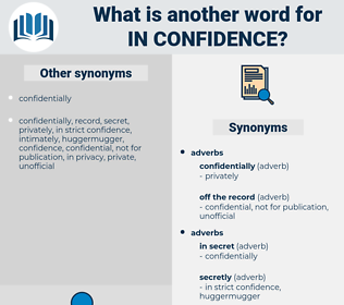 in confidence, synonym in confidence, another word for in confidence, words like in confidence, thesaurus in confidence