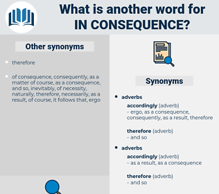 in consequence, synonym in consequence, another word for in consequence, words like in consequence, thesaurus in consequence