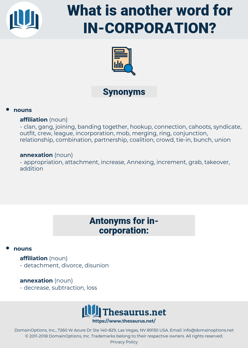 in-corporation, synonym in-corporation, another word for in-corporation, words like in-corporation, thesaurus in-corporation