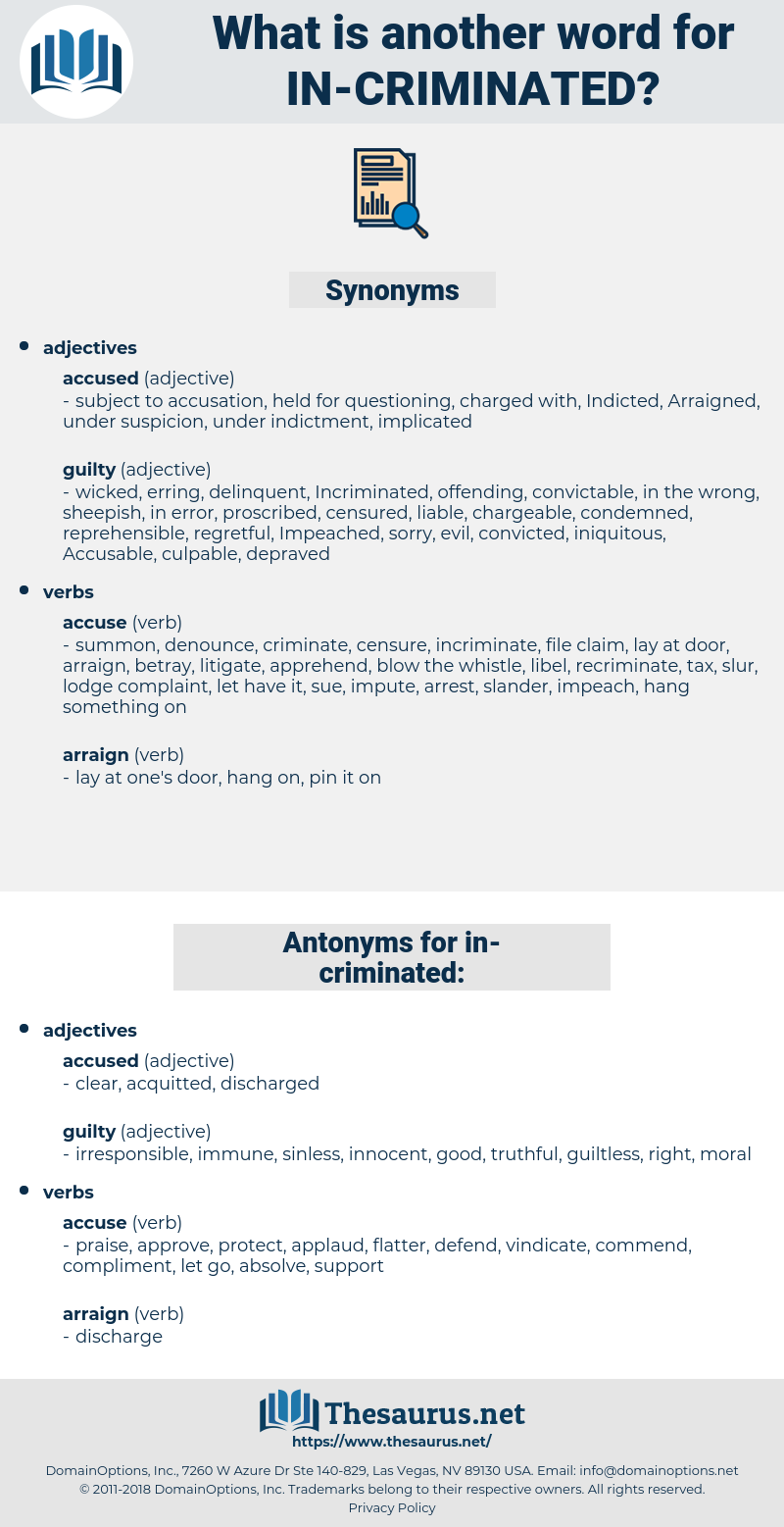 in criminated, synonym in criminated, another word for in criminated, words like in criminated, thesaurus in criminated