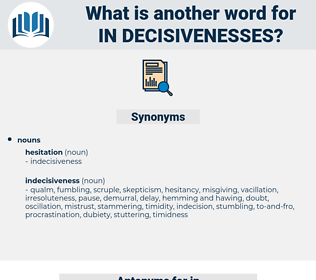 in-decisivenesses, synonym in-decisivenesses, another word for in-decisivenesses, words like in-decisivenesses, thesaurus in-decisivenesses
