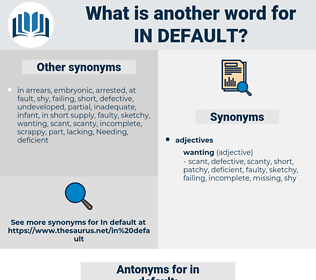 in default, synonym in default, another word for in default, words like in default, thesaurus in default