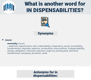 in dispensabilities, synonym in dispensabilities, another word for in dispensabilities, words like in dispensabilities, thesaurus in dispensabilities