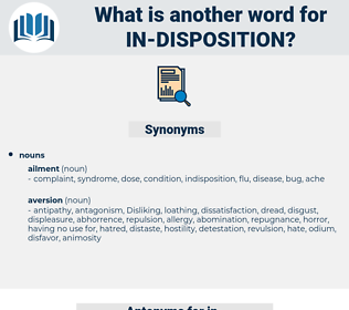 in-disposition, synonym in-disposition, another word for in-disposition, words like in-disposition, thesaurus in-disposition