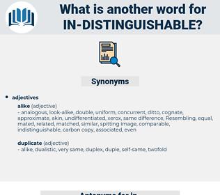 in distinguishable, synonym in distinguishable, another word for in distinguishable, words like in distinguishable, thesaurus in distinguishable