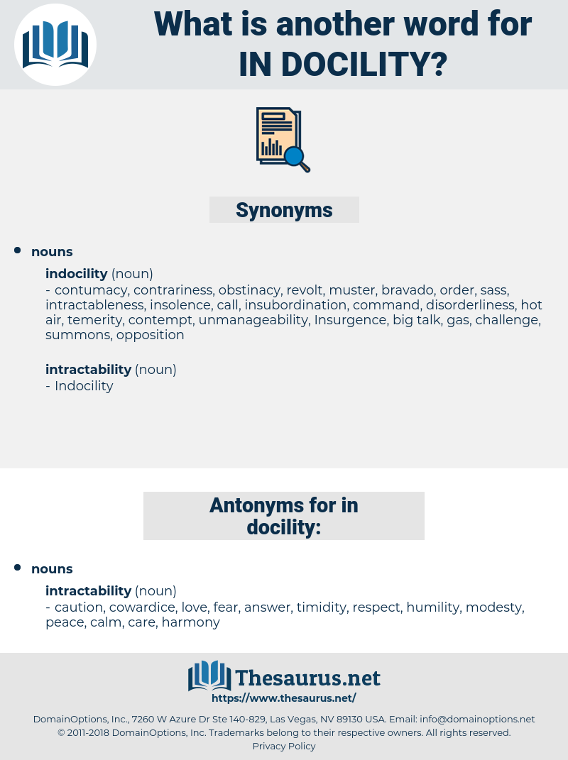 in-docility, synonym in-docility, another word for in-docility, words like in-docility, thesaurus in-docility
