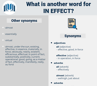 in effect, synonym in effect, another word for in effect, words like in effect, thesaurus in effect