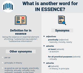 in essence, synonym in essence, another word for in essence, words like in essence, thesaurus in essence