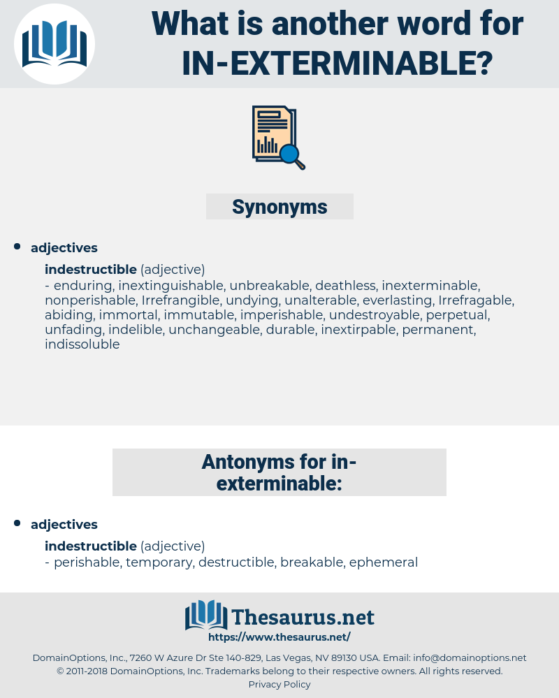 in exterminable, synonym in exterminable, another word for in exterminable, words like in exterminable, thesaurus in exterminable