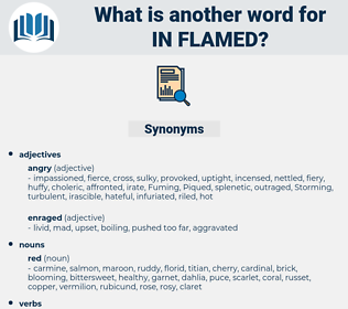 in flamed, synonym in flamed, another word for in flamed, words like in flamed, thesaurus in flamed