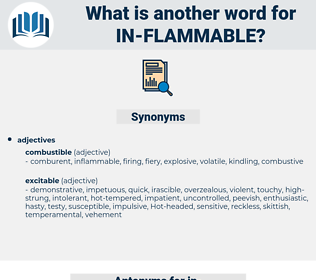 in flammable, synonym in flammable, another word for in flammable, words like in flammable, thesaurus in flammable