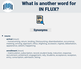 in flux, synonym in flux, another word for in flux, words like in flux, thesaurus in flux