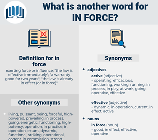 in force, synonym in force, another word for in force, words like in force, thesaurus in force